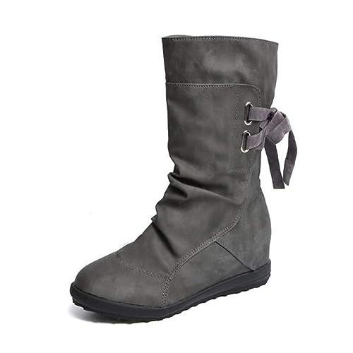 Botines Mujer Invierno Otoño Motorista Hebilla Botas Planos Tobillo Cuña Calzado Casual Zapatos con Tacon Aumento 3cm Negro Marrón Gris Talla 34-43: ...