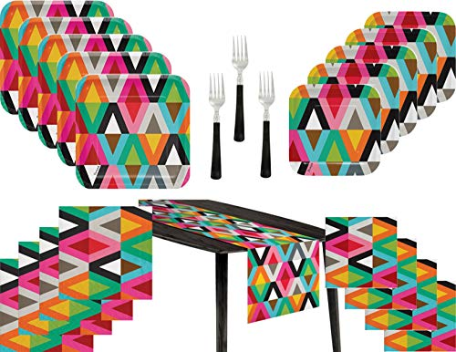 Viva Colorful Retro Party Supply Bundle for 20 Guests - Includes Plates, Napkins, Table Runner and Forks