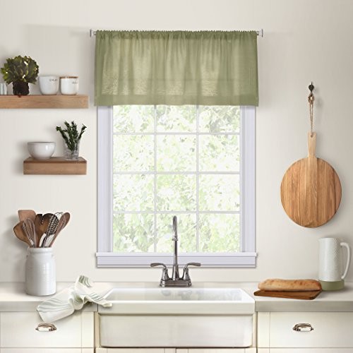 Elrene Home Fashions 26865775440 Solid Hemstitched Rod Pocket Valance Kitchen/Café Window Curtain, 60