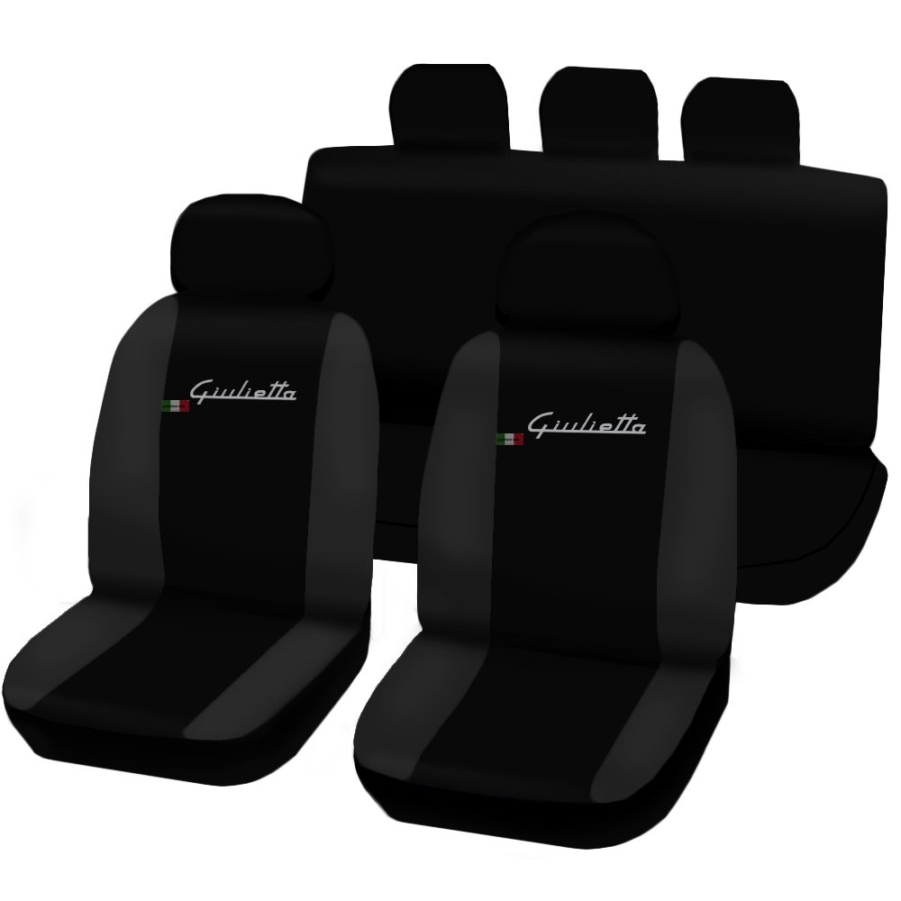 Fundas para Asientos de Coche Color Negro//Gris Oscuro Lupex Shop Giulietta/_N.GS