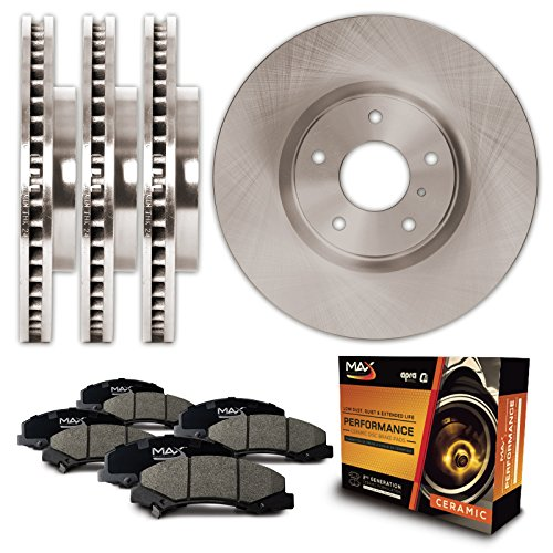 Max KT080843 Front + Rear Premium OE Replacement Rotors and Ceramic Pads Combo Brake Kit
