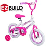 Huffy 12'' Sea Star Girls' EZ Build Bike,Comes with Easy-to-Use Coaster Brake and Wide Training Wheels,Fun Decorative Pattern Accented with Hearts and Glitter,Pearl White Frame,Hot Pink Fork,Great Gift