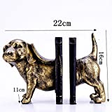 LPY-Bookends Resin Retro Dog Style Crafts, Book Ends for Office or Study Room Home Shelf Decorative