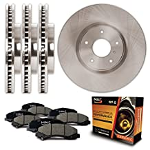 Front + Rear OE Blank Rotors and Ceramic Pads Brake Kit KT147343 | Fits: 2010 10 2011 11 2012 12 2013 13 Kia Forte 2.0L
