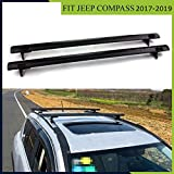 ROKIOTOEX Roof Rack Crossbars fit Jeep Compass 2017-2019 Side Rails Rooftop Cargo Carrier (Black)