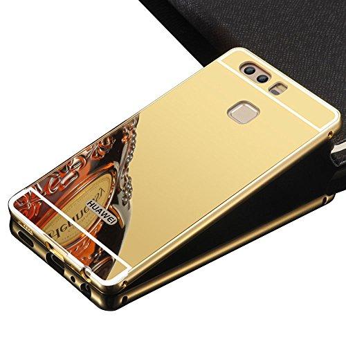Sunroyal® para Huawei P9 Carcasa Funda Súper Delgado Metal Aluminio Case Negro Metal Mirror Bumper Phone Case Hard Cover with Frame Caja del Teléfono Protectora chic marco + espejo espalda (Mirror Neg A-Oro
