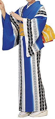 踊り衣裳 反物 波印 モダン小紋着尺 青×白?黒 レディース 洗える着物