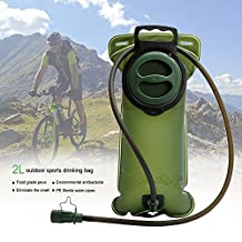 Cosyzone Hydration Bladder 2L Water Bladder for Hydration Pack Water Reservoir Leak- Proof Large Opening for Bicycling Hiking Camping (Dark Green)