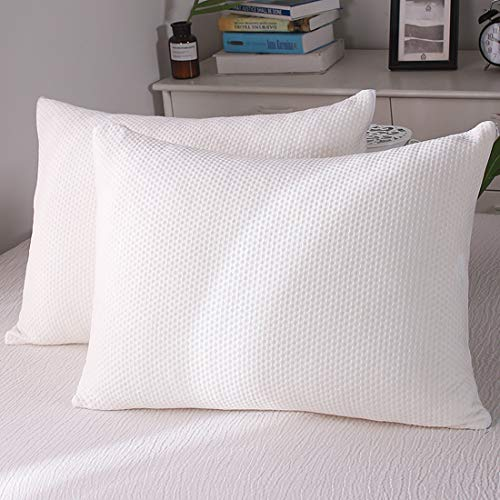 oaskys Pillow 2 Pack Standard Size Shredded Memory Foam Removable Washable and Luxury