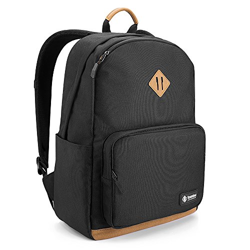 (Tomtoc Lightweight Multi-Purpose Backpack Fit 15.6 inch Laptop, Unisex College School Book Bag, Business Commuting Travel Pack Bag Daypack, Anti-Theft Pocket, PowerPortal Patent, Black - 22L)