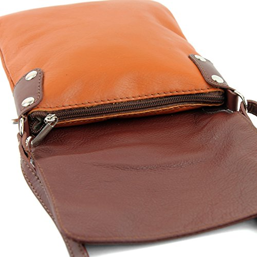 bag leather Camel ital ladies shoulder 34 T Messenger modamoda de small Brown bag 6axnYw