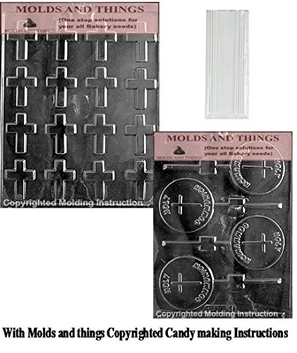CONFIRMATION LOLLY Chocolate Candy Mold & Bite Size Crosses Chocolate Candy Mold with Copyrighted Chocolate Molding Instructions (Molds Chocolate Confirmation)
