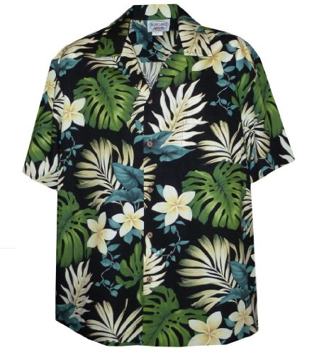 Pacific Legend Tropical Floral Monstera and Plumeria Hawaiian Shirt (Small, (Cheap Luau)