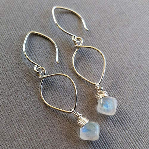 Rainbow Moonstone Earrings Sterling Silver Lotus Loop June - Moonstone Dangle