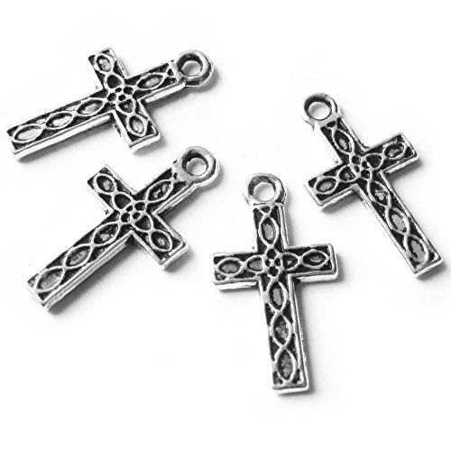 Twisted Cross Charm (Heather's cf 155 Pieces Silver Tone Small Cross Beads DIY Charms Pendants 17X9mm)