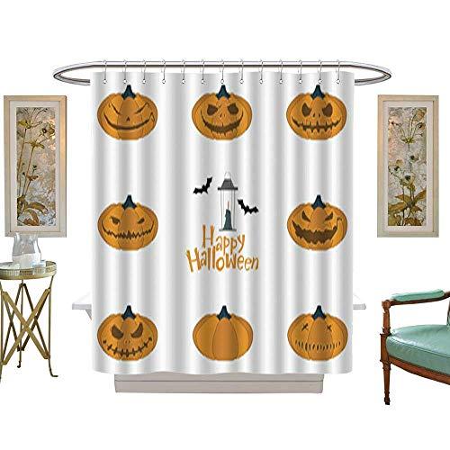 Iuvolux Tree Four Seasons Shower CurtainHalloween Pumpkin Carving Set Happy Halloween Typography Vector. Bathroom Sets with Hooks Art Print Polyester Fabric W54 x H78 -