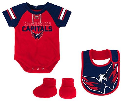 NHL Washington Capitals Newborn & Infant Little D-Man Onesie, Bib & Bootie Set, 24 Months, Red