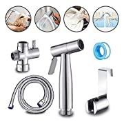 Stainless Steel Baby Cloth Diaper Sprayer Kit Handheld Bidet Set with Hose, Nozzle, T-Valve and Tank Mount Hook for Toilet Shower Cleaner and Washer Rinse