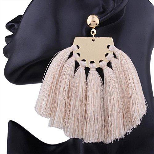 Dream 2 Reality Costumes (DZT1968 Women girl Bohemian Handmade Tassel Fringe Dangle Stud Earrings Jewelry (Beige))