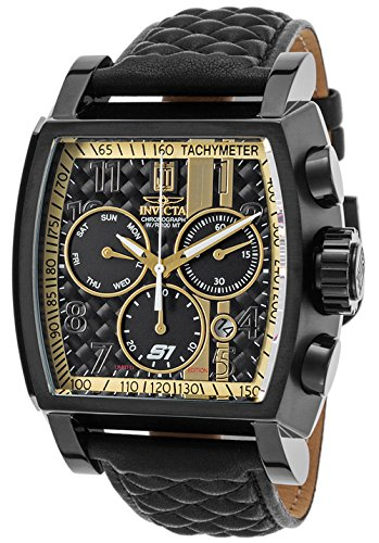 Invicta Men's 'Jason Taylor' Swiss Quartz Stainless Steel and Leather Casual Watch, Color:Black (Model: 22381BWB)