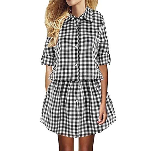DEATU Ladies Dress, Teen Girls Womens Plaid Elastic Waist Turn down Collar Long Sleeve Tunic Button Mini Dress(Black,L)
