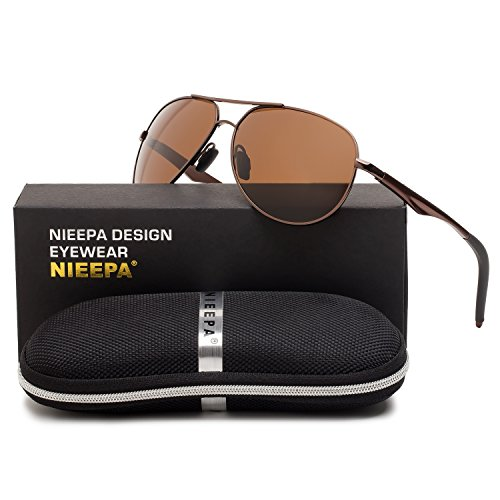 Aviator Polarized Sunglasses Classic Metal Frame TAC Lenses Driving Sun Glasses Retro Mens Womens Eyewear UV400 Protection Brown Lens/Brown Al-mg Frame