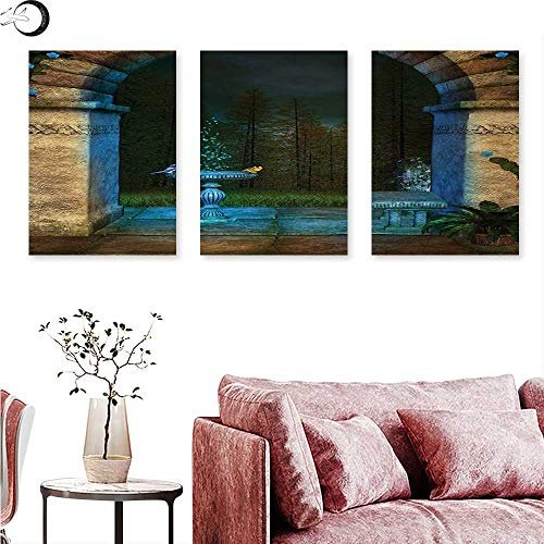 Mannwarehouse Gothic Wall Art Oil Paintings Forest Landscape from Ancient Archway Birds on Fountain Fairytale Illustration Wall Panel Art Blue Grey Green W 16