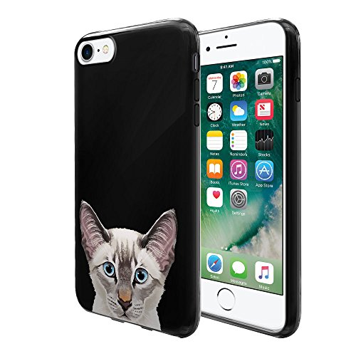 - FINCIBO Case Compatible with Apple iPhone 7 2016 / iPhone 8 2017 4.7 inch, Flexible TPU Black Soft Gel Skin Protector Cover Case for iPhone 7/8 (NOT FIT 7 Plus, 8 Plus) - Lynx Point Lilac Siamese Cat