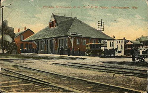 (Chicago, Milwaukee & St. Paul Rail Road Depot Whitewater, Wisconsin Original Vintage Postcard )