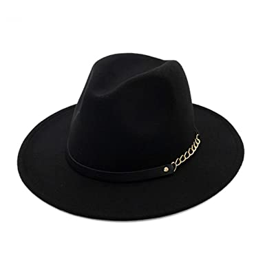 cbe37520a Image Unavailable. Image not available for. Color: Wool Felt Fedora Hats  Unisex Classic Flat Wide Brim Trilby Panama ...