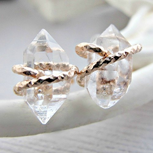 ROSE GOLD FACETED Raw Quartz Studs, Herkimer Diamond Earrings Studs, 14k Rose Gold Fill Post, Rough Diamond Earrings, Crystal Earrings, Quartz Studs, - Earrings Clear Quartz
