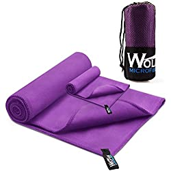 "Wolfyok 2 Pack Microfiber Travel Sports Towel XL Ultra Absorbent and Quick Drying Swimming Towel (58"" X 30"") with Hand/Face Towel (24"" X 16"") for Sports, Backpacking, Beach, Yoga or Bath, Purple"
