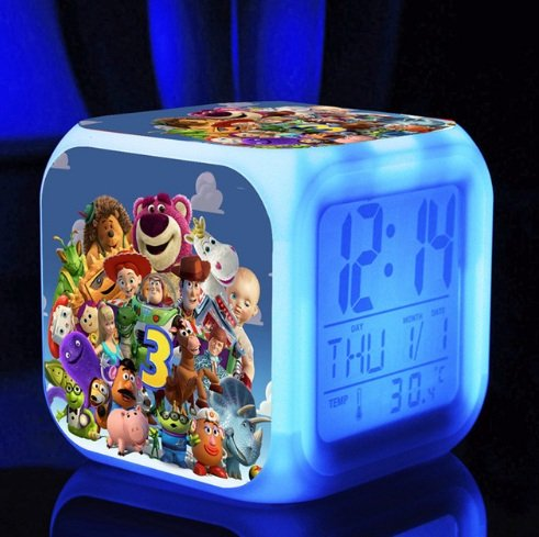 Toy Story Comedy Adventure TV Movie Action Figure Buzz Woody Digital Alarm Desktop Clock with 7 Changing LED Clock Style 1