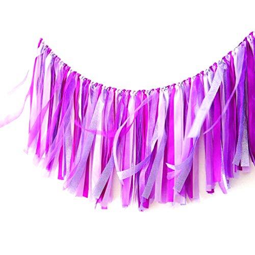AZOWA Assembled Purple Ribbon Tassel Garland for Nursery Bridal Shower Wedding Party Decorations (40 in x14 in, Purple)