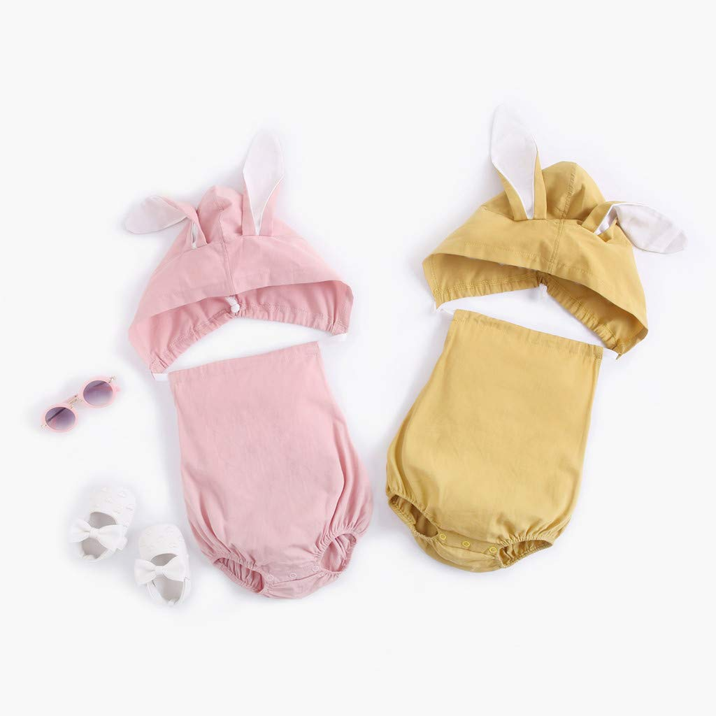 Toddler Newborn Infant Baby Boy Jumpsuit Rabbit Denim Hoodie Triangle Rompers Summer Casual Backless Outfits