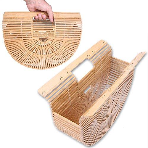 Casual Handbags Handmade Women Beach Aediea Basket Totes Bamboo Shopping 3 Vacation qF1WEw