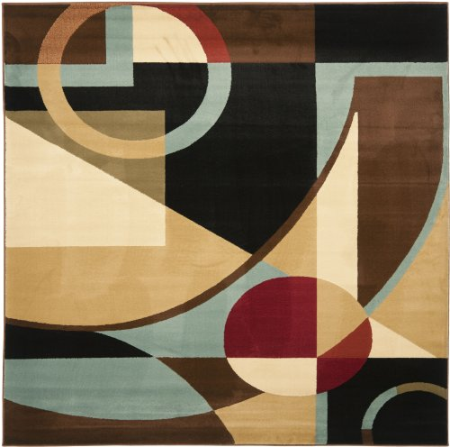 Safavieh Porcello Collection PRL6845-9091 Modern Abstract Art Black and Multi Square Area Rug (7 Square)
