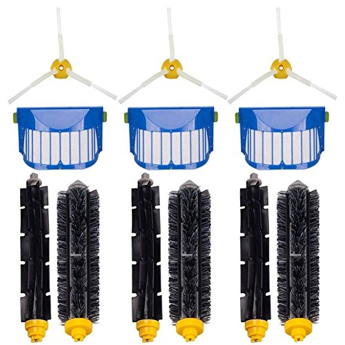 JUMBO FILTER for for iRobot Roomba 600 Series (585,595,610,620,630,650,660,680) Vacuum Cleaning Robots Aero Vac Filter Bristle Flexible Beater 3-Armed Side Brush Pack Replenishment Mega Kit]()
