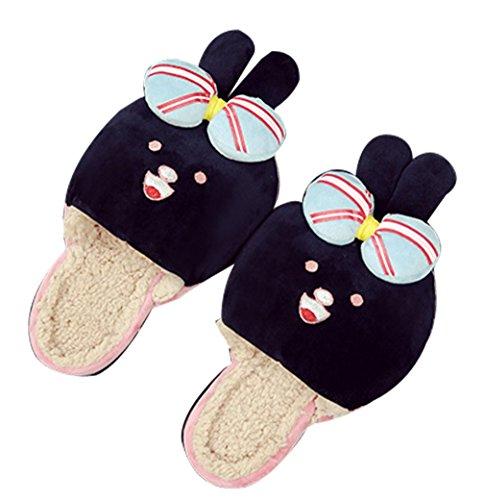 Cattior Womens Fleece Warm Cute Slippers Funny Slippers Black 1kgea09W