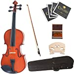 Cecilio CVN-320L Ebony Fitted Solid Wood Left-Handed Violin with Tuner and Lesson Book, Size 1/4 1