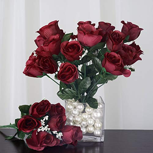 Efavormart 84 Artificial Buds Roses for DIY Wedding Bouquets Centerpieces Arrangements Party Home Decoration Supply - Burgundy