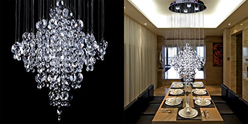 Saint Mossi Crystal Rain Drop Chandelier Modern & Contemporary Ceiling Pendant Light 4 GU10 Bulbs & 4 G9 Bulbs Required H53″ X W18″ X L18″