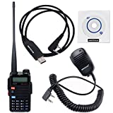 NKTECH USB Programming Cable & Remote Speaker Mic and TYT TH-UVF11 VHF UHF 136-174/400-520MHz 256CH Dual Band Dual PTT SOS DTMF Repeater Two Way Radio