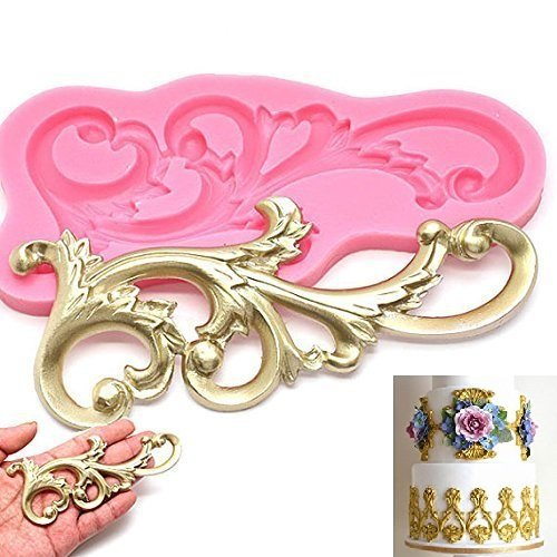 Wedding Vintage Relief Flourish Silicone Cake Mold Sugarcraft Fondant Cake Decorating Tools Chocolate Mould Stencil Palker Cook (Chocolate Vintage Molds)