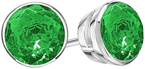 2.5 Carat Total Weight Emerald Solitaire Stud Earrings Pair Platinum Popular Premium Collection Bezel Push Back ()