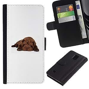 EuroCase - Samsung Galaxy Note 4 SM-N910 - shar pei sleeping puppy brown dog - Cuero PU Delgado caso cubierta Shell Armor Funda Case Cover