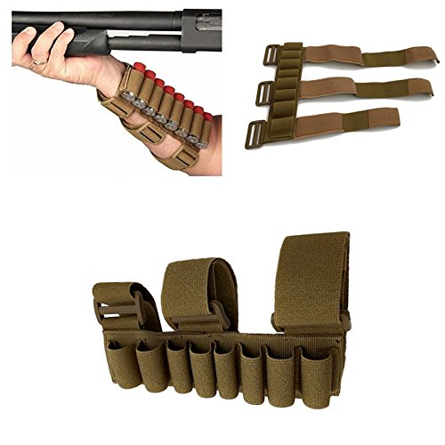FIRECLUB 8 Rounds Gun Ammo Storage Shotgun Shell Holder Adjustable Shooters Forearm or Tactical Buttstock Sleeve Magazine Pouch