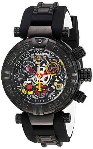 Invicta Women's Disney Limited Edition Stainless Steel Swiss-Quartz Watch with Silicone Strap, Black, 11 (Model: 22738) ()