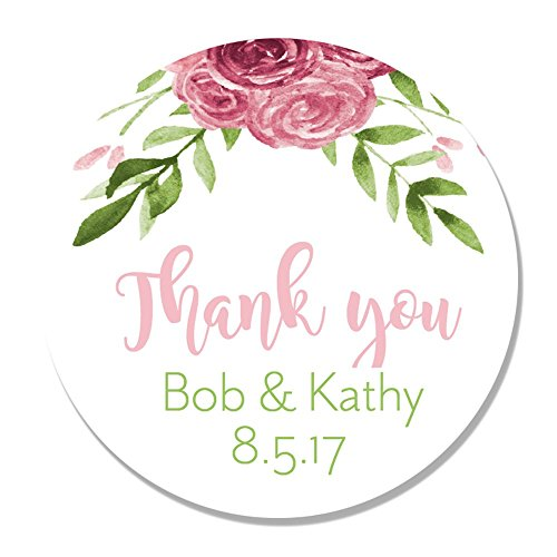 40 Personalized Flower Thank You Party Favor Label Stickers - Round Party Stickers for Wedding, Anniversary, Birthday, Baby - Customize You