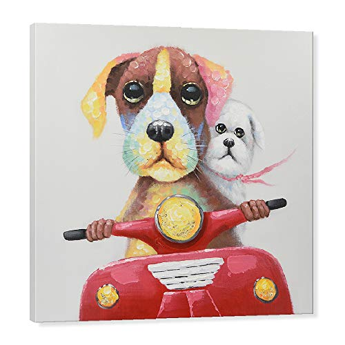 7CANVAS - Dog Painting Cute Animal Hand Painted Oil Painting Wall Decor Wall Art for Bedroom Kids Room Living Room Gifts (Funky Dogs, 32 x 32 Inch)